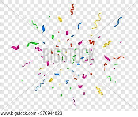 Bright Confetti. Vector Party Celebrate, Colorful Streamer. Fun Illustration Carnival Decor For Holi