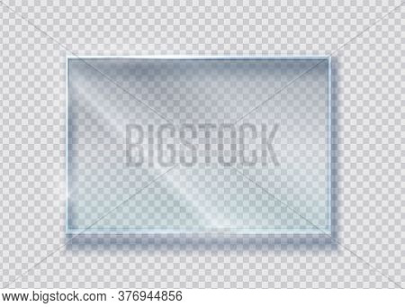 Glass Crystal Banner. Vector Realistic Clear Rectangle Clear Window. Transparence Isolated Materials