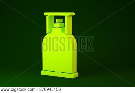 Yellow Camping Gas Stove Icon Isolated On Green Background. Portable Gas Burner. Hiking, Camping Equ
