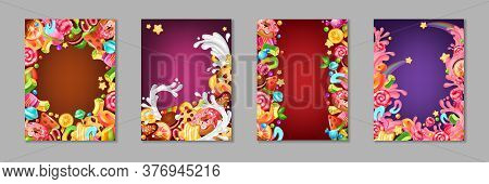 Cartoon Candy Posters. Background Templates With Sweets And Desserts For Kids, Chocolate And Caramel
