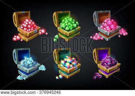 Game Chest. Cartoon Colored Precious Jewelry Stones, Achievement Game Design Element, Batch Of Glowi