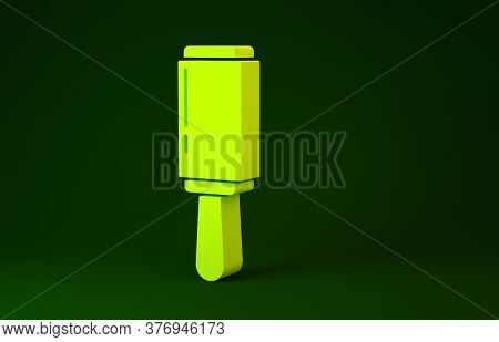 Yellow Adhesive Roller For Cleaning Clothes Icon Isolated On Green Background. Getting Rid Of Debris