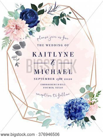 Royal Blue Rose, White Hydrangea, Dahlia, Eucalyptus, Juniper Vector Design Frame.stylish Pink Gold