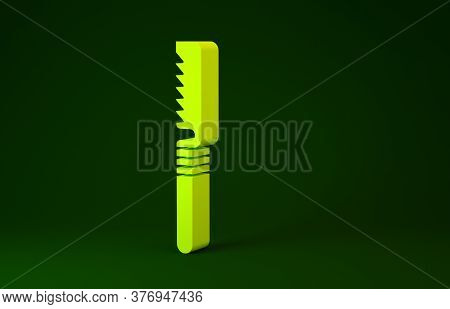 Yellow Medical Saw Icon Isolated On Green Background. Surgical Saw Designed For Bone Cutting Limb Am