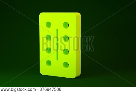 Yellow Pills In Blister Pack Icon Isolated On Green Background. Medical Drug Package For Tablet, Vit