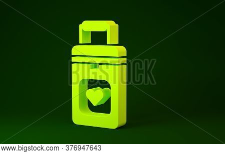 Yellow Cooler Box For Human Organs Transportation Icon Isolated On Green Background. Organ Transplan