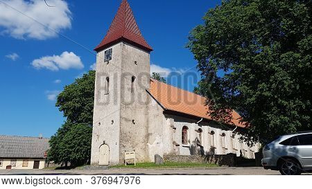 Old Lutheran Church In The Latvian City Of Durbe On A Sunny Summer Day In 2020
