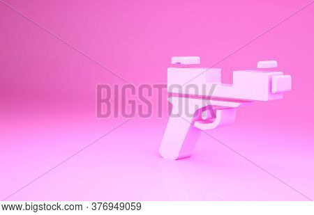 Pink Pistol Or Gun Icon Isolated On Pink Background. Police Or Military Handgun. Small Firearm. Mini