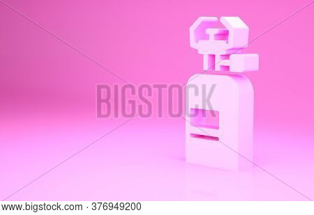 Pink Camping Gas Stove Icon Isolated On Pink Background. Portable Gas Burner. Hiking, Camping Equipm