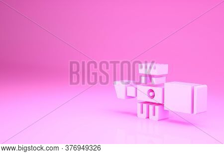 Pink Sniper Optical Sight Icon Isolated On Pink Background. Sniper Scope Crosshairs. Minimalism Conc