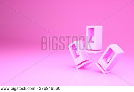 Pink Cartridges Icon Isolated On Pink Background. Shotgun Hunting Firearms Cartridge. Hunt Rifle Bul