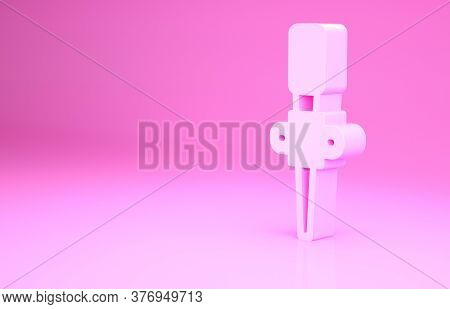 Pink Torch Flame Icon Isolated On Pink Background. Symbol Fire Hot, Flame Power, Flaming And Heat. M