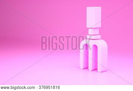 Pink Garden Rake Icon Isolated On Pink Background. Tool For Horticulture, Agriculture, Farming. Grou