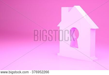 Pink House Under Protection Icon Isolated On Pink Background. Home And Shield. Protection, Safety, S