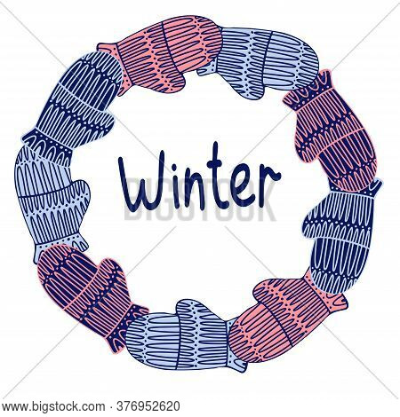 Isolated Vector Design Of Circle Of Knitted Mittens In Pastel Cold Tones On Blue