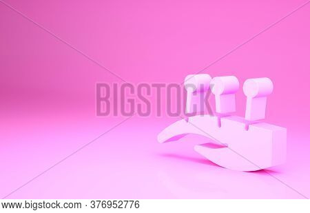 Pink Acupuncture Therapy On The Hand Icon Isolated On Pink Background. Chinese Medicine. Holistic Pa