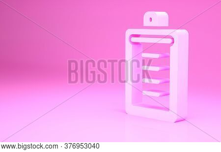 Pink Clipboard With Checklist Icon Isolated On Pink Background. Control List Symbol. Survey Poll Or