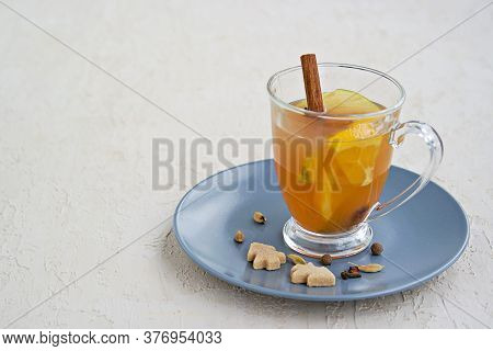 Apple Cider With . Alcoholic Or Non-alcoholic Hot Drink Made From Fresh Unfiltered Apple Juice With