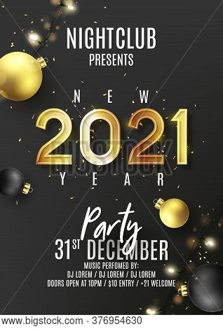 2021 Happy New Year Party Poster. Vector Illustration With Golden Holiday Symbol, Confetti, Light Ga
