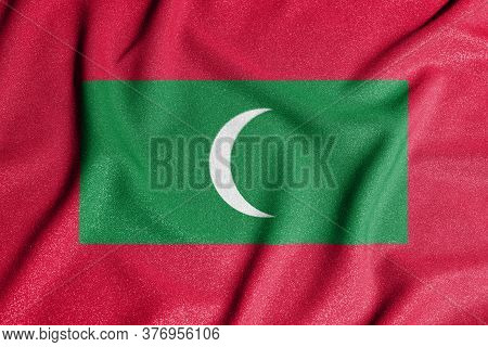 National Flag Of The Maldives. The Main Symbol Of An Independent Country. Flag Of Maldives.