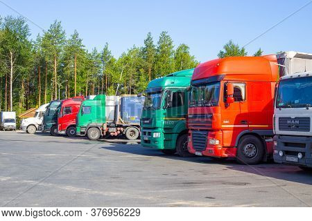 Chelyabinsk, Russia - 06.28.2020: Trucks Are Parked, Logistics And Cargo Transportation Between Citi