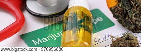 Prescription For Buying Marijuana In Pharmacy. Medical Cannabis Is Prescribed For Post-traumatic Syn