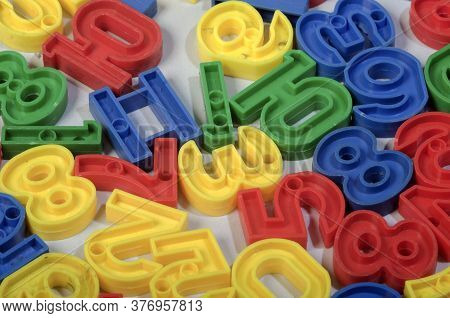 Early Childhood Education , Colorful Plastic One To Ten Number Sets In Red, Blue, Green And Yellow C