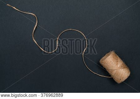 Hemp Twine. Natural Materials For Crafts. Top View With Copy Space, Flat Lay