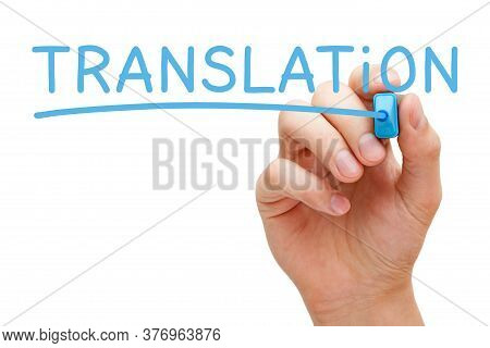 Hand Writing The Word Translation With Blue Marker On Transparent Wipe Board Isolated On White Backg