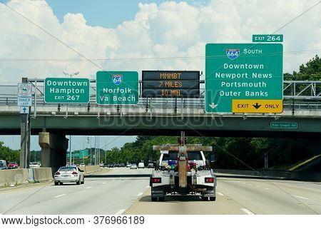 Virginia, U.s.a - July 1, 2020 - The Highway Signs Towards Interstate 64 To Norfolk And Interstate 6