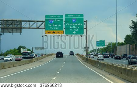 Virginia, U.s.a - July 1, 2020 - The Express Exit Signs Towards Interstate 64 To Chesapeake And Suff