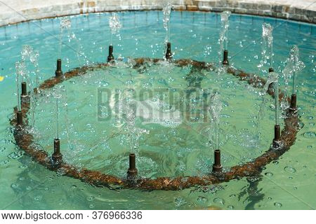 City Fountain With Clear Clear Water Close Up