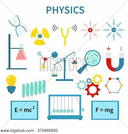 Physics, Chemistry, Biology, Laboratory And Science Equipment Icons Set. Vector Illustration. Latex