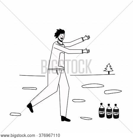 Soda Addiction Concept Illustration. The Man Runs To The Soda Bottles. An Unhealthy Lifestyle, Unhea