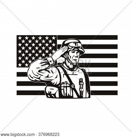 Retro Style Illustration Of An American Soldier, Military Serviceman, Personnel Or Veteran Saluting