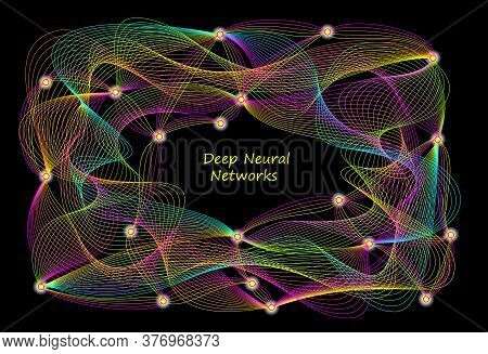 Stylized Background Of Deep Neural Networks Activity In Brain. Artificial Intelligence System. High