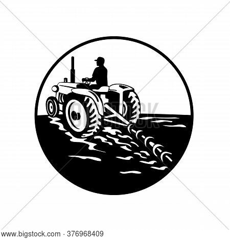 Illustration Of A Farmer Gardener Driving A Vintage Tractor Plowing Mowing Viewed From Rear Set Insi