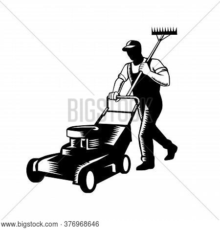 Woodcut Black And White Style Illustration Of Male Gardener, Landscaper, Groundsman Or Groundskeeper