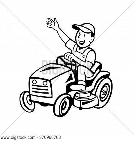 Cartoon Style Illustration Of Farmer Or Gardener Riding Ride-on Mower Mowing Waving Hand Viewed From