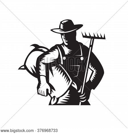 Illustration Of An Organic Wheat Farmer, Horticulturist, Agriculturist Or Gardener With Rake And Car