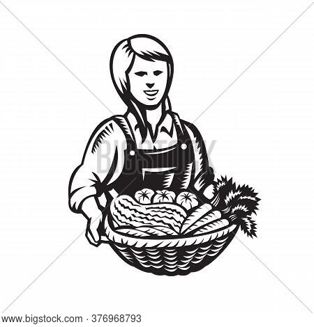 Illustration Of Female Organic Farmer With Basket Of Crop Produce Harvest Of Fruit And Vegetable Fac