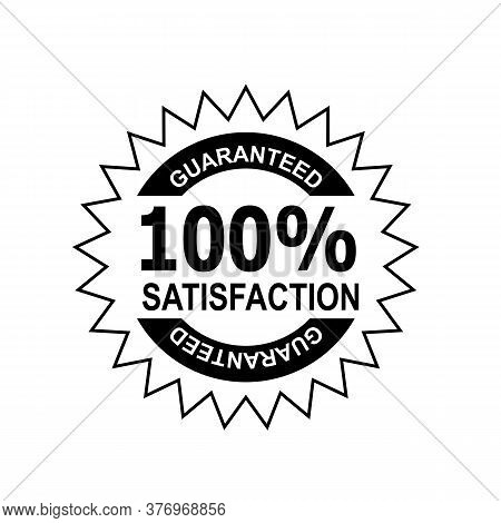 Icon Mark Seal Sign  Illustration Showing 100% Percent Satisfaction Guaranteed Stamp, Rosette Or Bad