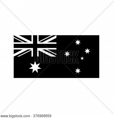 Black And White Or Monochrome Flag Of The State, Nation Or Country Of Australia On Isolated Backgrou