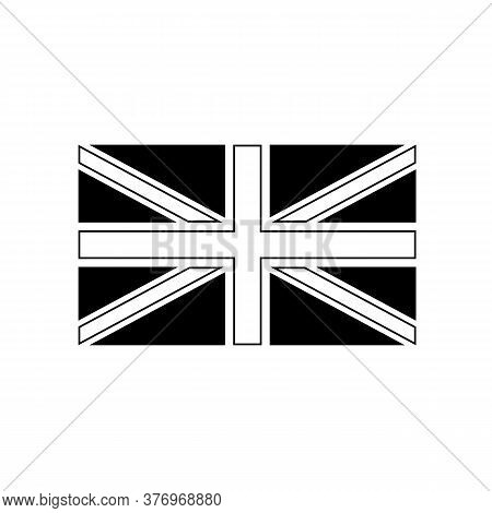 Black And White Or Monochrome Flag Of The State,  Nation Or Country Of Great Britain On Isolated Bac