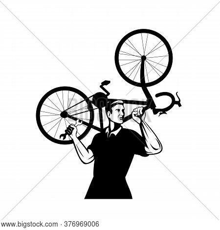Illustration Of A Bicycle Mechanic Carrying A Bike On Shoulder And Holding A Spanner Or Wrench Looki