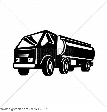 Retro Style Illustration Of A Tank Truck, Gas Truck, Fuel Truck, Tanker Or Tanker Truck, A Motor Veh