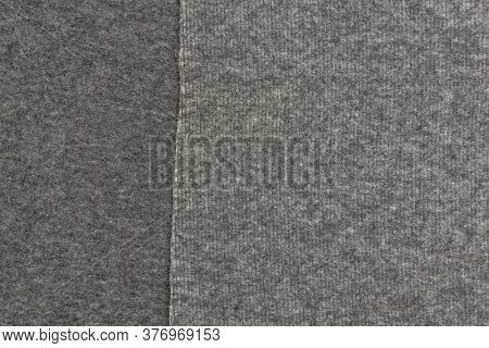 Woolen Gray Warm Material Close-up. Abstract Background. The Concept Of Comfort And Warmth. Copyspac
