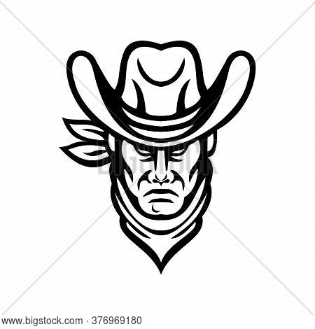 Mascot Icon Illustration Of Head Of An American Cowboy Wearing Kerchief And Hat Viewed From Front On