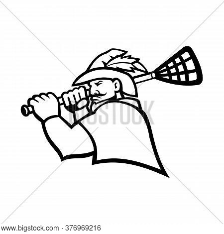 Mascot Icon Illustration Of Bust Of A Green Archer Or Robin Hood With Lacrosse Stick  Viewed From Si