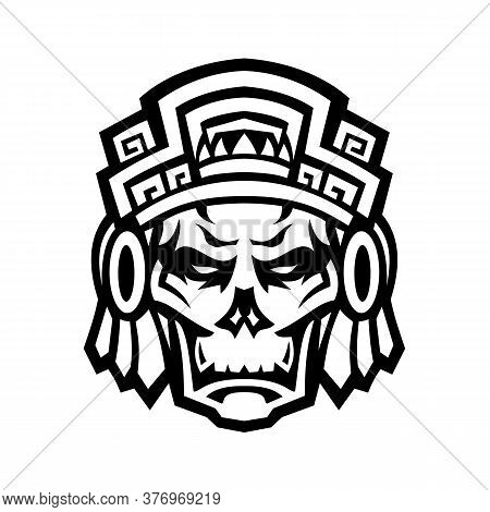 Mascot Icon Illustration Of A Skull Of A Noble Aztec Warrior Wearing Wood Helmet Or Headdress Viewed
